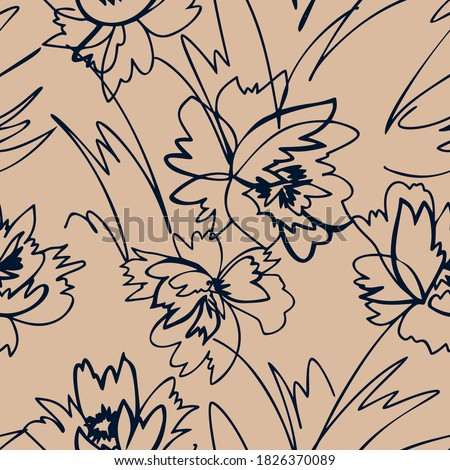 Simple nature floral background. Seamless pattern with hand drawn flowers. Line art .Contour drawing. Sketch style. Fashion design for your textile and fabric, wrapping, any surface.