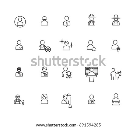 Simple Occupations and People icons set,Vector