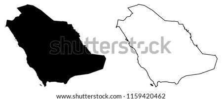 Simple (only sharp corners) map -  Kingdom of Saudi Arabia (KSA) vector drawing. Mercator projection. Filled and outline version.