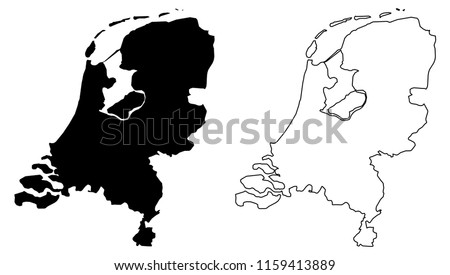 Simple (only sharp corners) map of Netherlands vector drawing. Mercator projection. Filled and outline version.