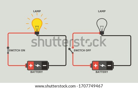Simple Open and Closed Electric Circuit vector illustration. Stock photo ©