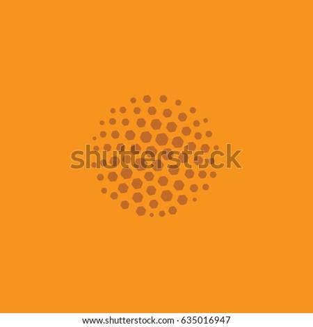 Simple orange circular 'hive' logo vector icon.