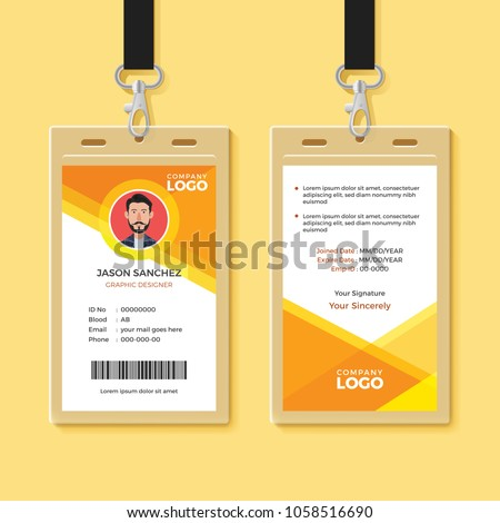 Simple Orange Graphic ID Card Design Template