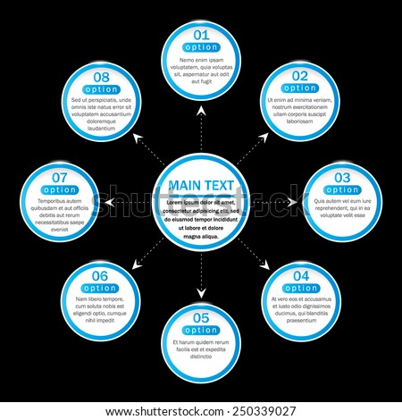Simple organization chart with main idea and eight blue options on the black background. EPS10. Can be used for workflow layout, web design, banner, presentation, poster, flyer.