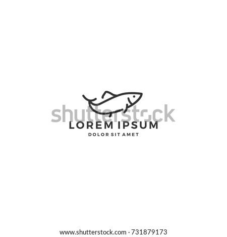 simple outline fish line art monoline logo template vector icon