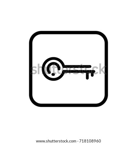 Simple outline key vector icon. Keyword symbol. Access checking illustration.