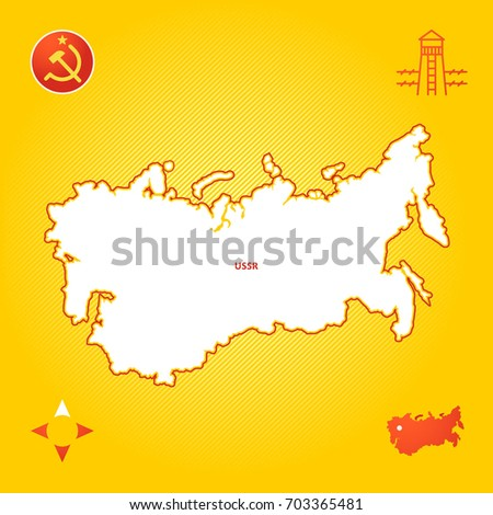 simple outline map of ussr