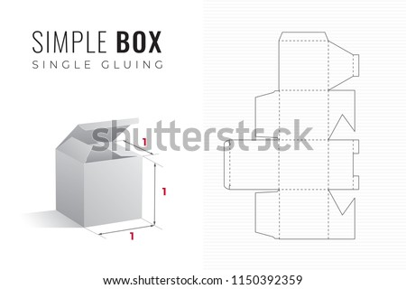 Simple Packaging Box Die Cut Cube Template with 3D Preview -  Black Editable Blueprint Layout with Cutting and Scoring Lines on Striped Background - Vector Draw Graphic Design Stock foto ©