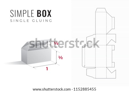 Simple Packaging Box Die Cut Half Length And Height Template With 3D Preview