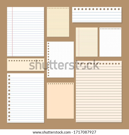 simple paper notepads desing, grid, line and blank papers, vector, illustration layout A4 Size and another.