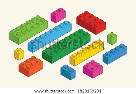 Simple pattern of building block, bricks for children. Vector isometric illustration. Colored bricks isolated on white background.