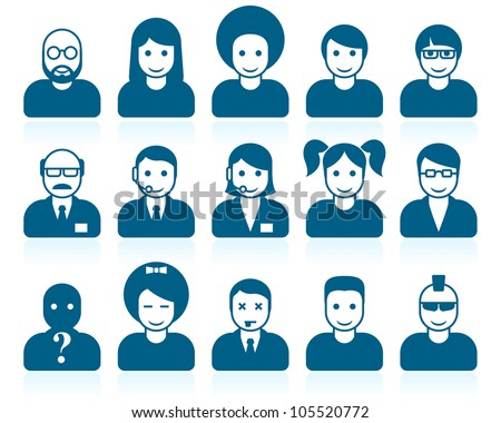 Simple people avatars with different style and hairdo