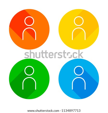 Simple person icon. Linear symbol, thin outline. Flat white icon on colored circles background. Four different long shadows in each corners