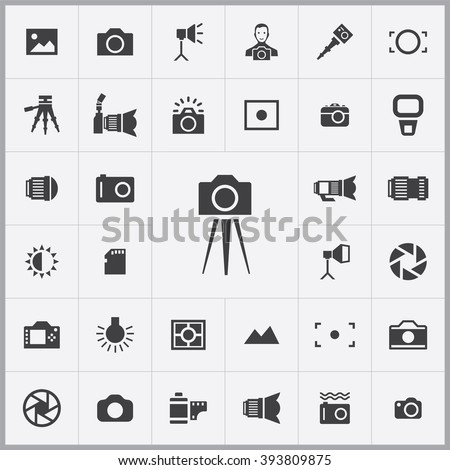Simple photography icons set. Universal photography icons to use for web and mobile UI, set of basic UI photography elements