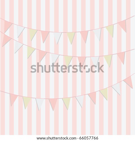Simple pink birthday card design with bunting for girls