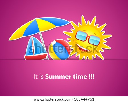 Simple pink Holiday Card with sun, umbrella, boat and beach ball made from paper-vector
