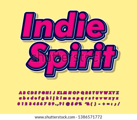 Simple pop art font effect for sticker project, indie spirit sticker, cool and fun typography design
