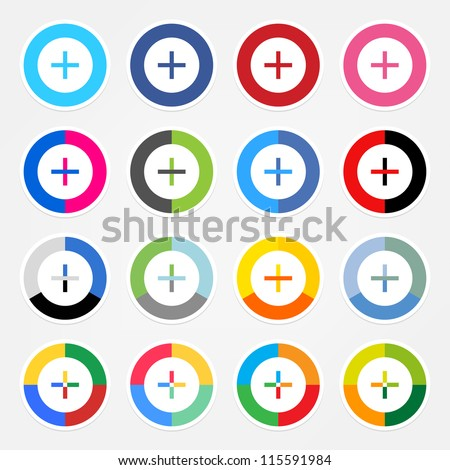 Simple popular social networks icon with plus sign. Colored circle shape internet button with white stroke and drop shadow on gray background