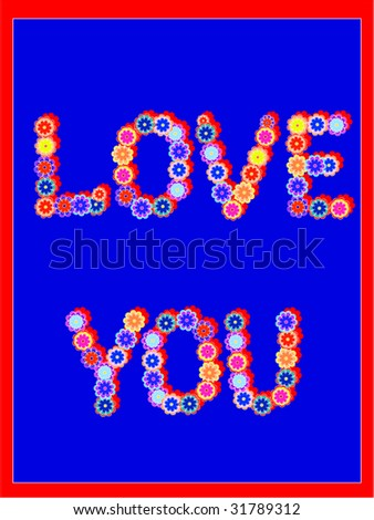 simple postcard with words love you from flowers