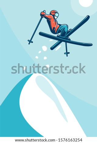 simple poster design skiing