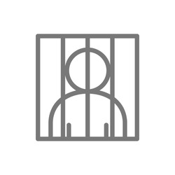Simple prisoner behind bars line icon. Symbol and sign vector illustration design. Isolated on white background