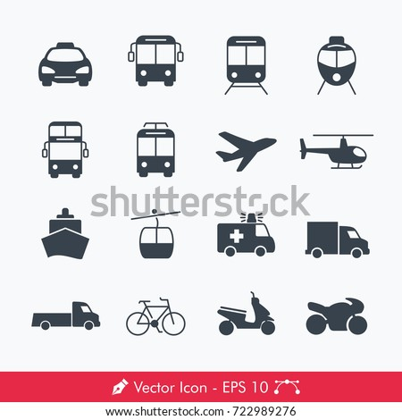 Simple Public Transport Icons / Vectors Set