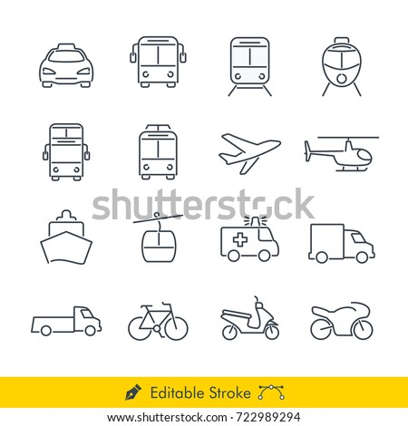 Simple Public Transport Icons / Vectors Set - In Line / Stroke Design with Editable Stroke
