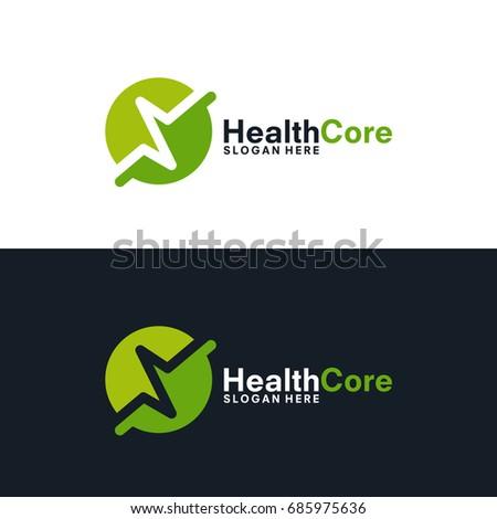 simple pulse logo template, Simple HealhtCare logo template, Health Center Logo designs vector illustration