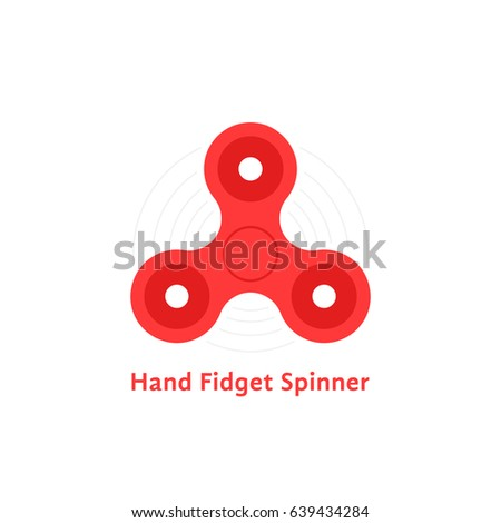 simple red hand fidget spinner logo. concept of funny trick for child and toy like every day carry for anti stress. flat unusual style trend modern logotype graphic art design