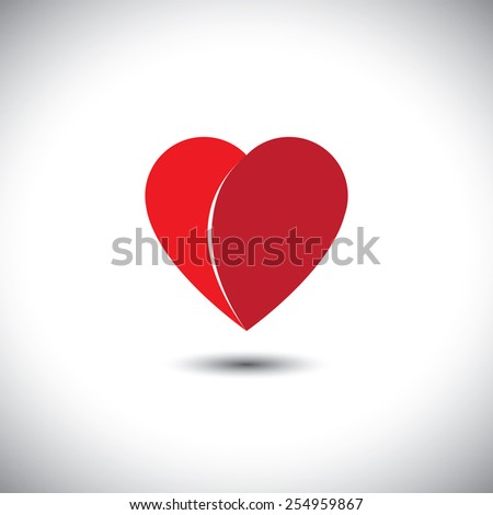 simple red heart love icon with