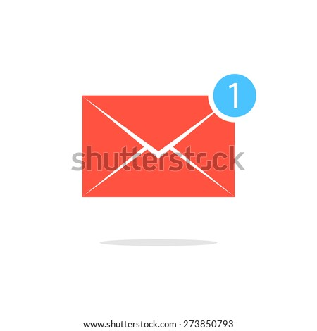 simple red letter icon with one counter notification. concept of spam, service, dispatch, delivery, announcement. isolated on white background. flat style trendy modern design vector illustration