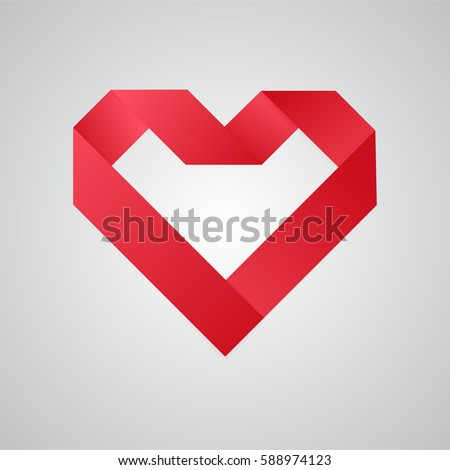 simple red paper heart vector
