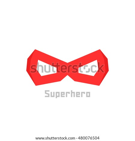 simple red superhero mask icon. concept of mascot, mystery, winner, comic book person, worthy, mythology, disguise. flat style trend modern logotype design vector illustration on white background