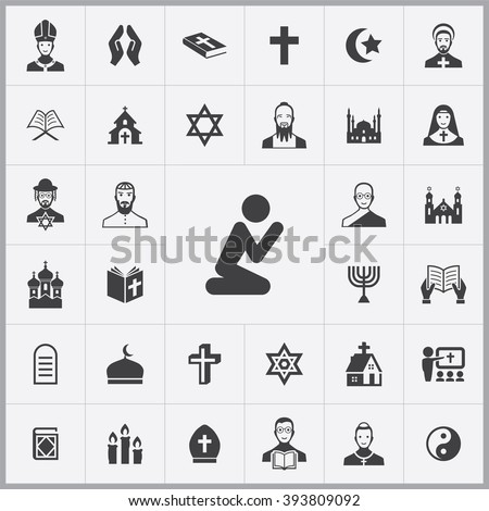 Shutterstock Simple religion icons set. Universal religion icon to use for web and mobile UI, set of basic religion elements