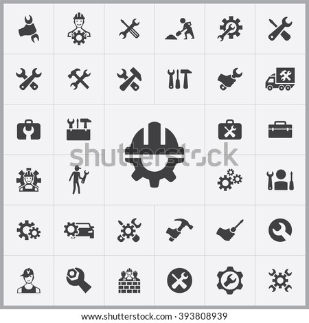 Simple repair icons set. Universal repair icon to use for web and mobile UI, set of basic repair elements