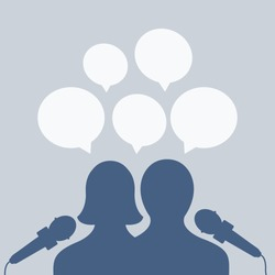 simple reporter or presenter with mic, microphone or mike vector cartoon. speaker & famous silhouette man & woman. politic interview flat design isolated. two character in media news & Speech bubble
