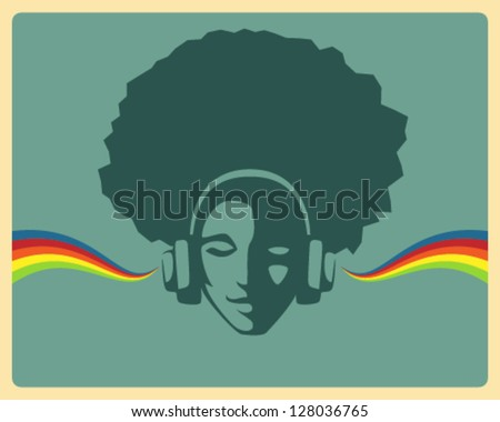 simple retro design - beautiful girl listening to music from headphones