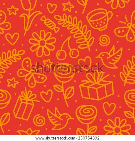 Simple romantic seamless pattern.