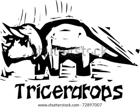 Simple rough woodcut style depictions of a Triceratops Dinosaur