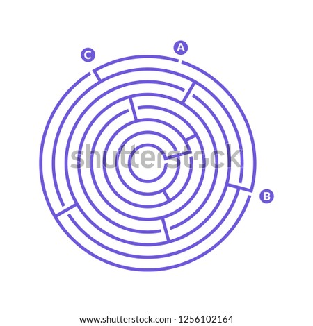 Simple round maze labyrinth game for kids. One of the puzzles from the set of child riddles.