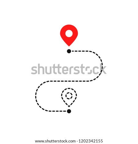 simple route like we have moved. flat stroke trend outline logotype graphic art design illustration element isolated on white. concept of interest land mark like ecommerce delivery or transfer