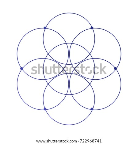 Simple sacred geometry flower of life ancient symbol tattoo sketch.
