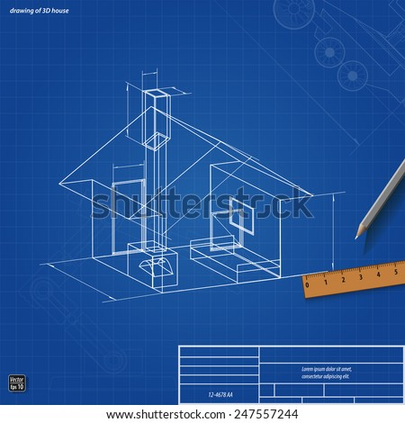Simple scheme abstract 3D render of building house vector illustration eps 10