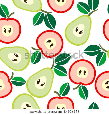 Simple seamless apples and pears background - stock vector