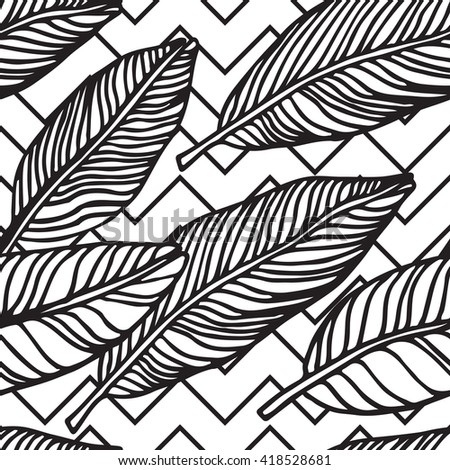 Simple seamless tropical jungle floral background hand-drawing doodle leaves, diagonal striped texture. Summer pattern for your clothes, typography, design in classic 1990, 1980s