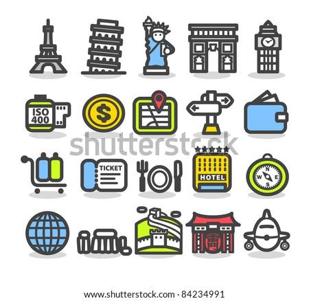 Simple series | Travel,landmarks,trip,business travel icon set - stock vector
