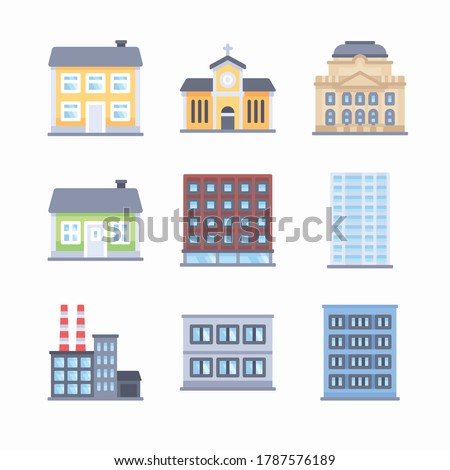 Simple Set Buildings Vector Color Icons. Color with Editable stroke