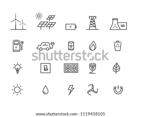 Simple Set by power source of energy vector thin line icons, Editable Stroke linear symbols