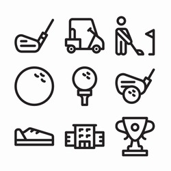 Simple Set Golf Vector line Icons. Line with Editable stroke