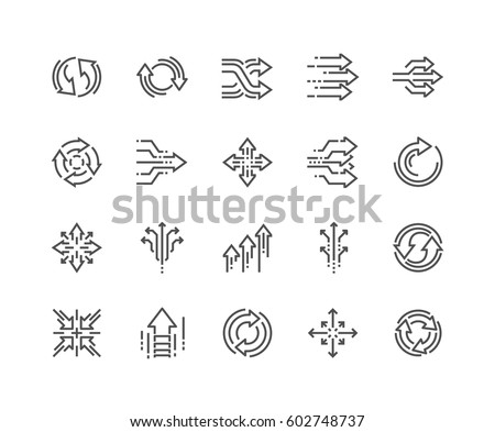 Simple Set of Abstract Transition Related Vector Line Icons.  Contains such Icons as Update, Conversion, Path and more. Editable Stroke.